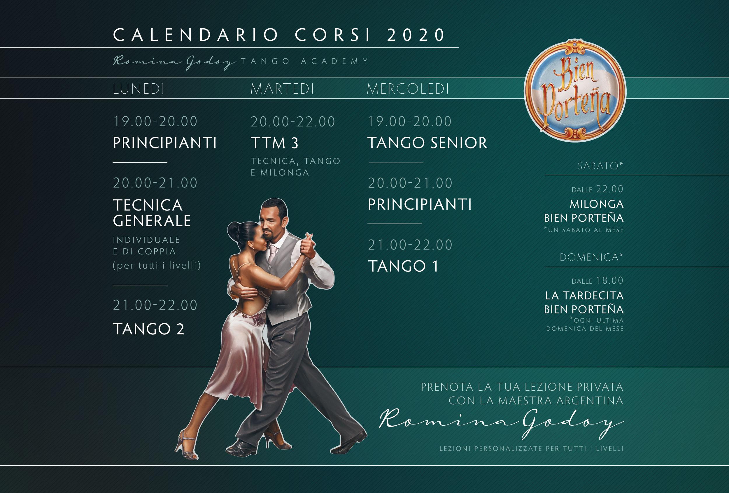 Calendario Corsi di Tango Argentino a Genova 2020